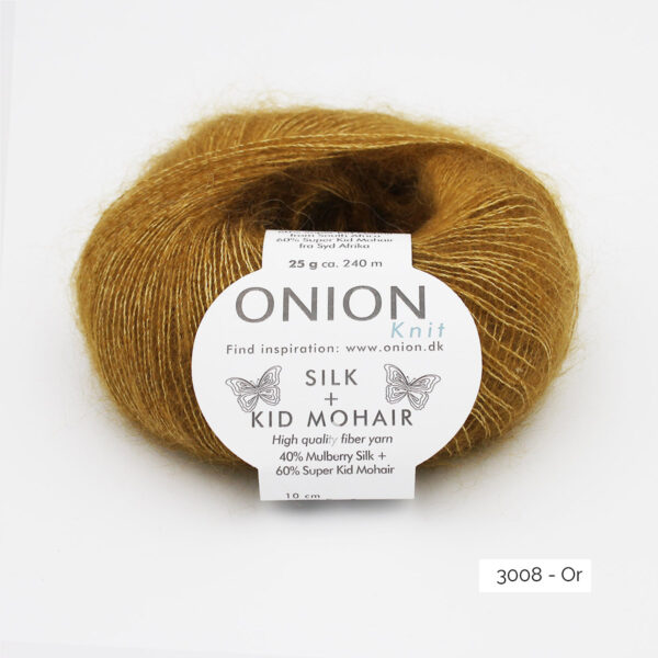 Une pelote de Silk + Kid Mohair d'Onion coloris Or