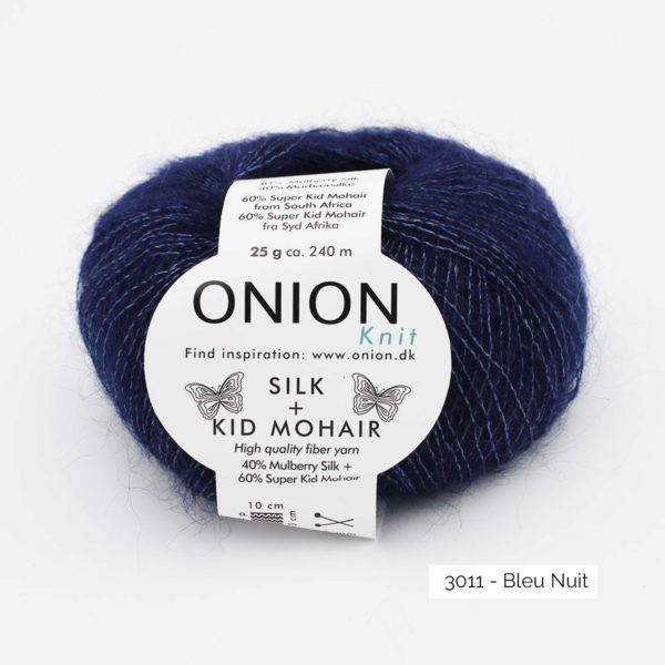 A ball of Onion's Silk + Kid Mohair in the Bleu Nuit colorway (midnight blue)