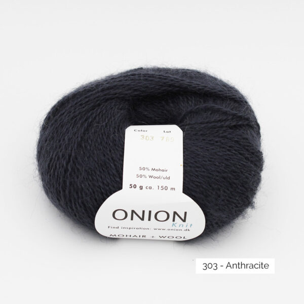 A ball of Onion Mohair + Wool in the Anthracite colorway (dark grey)