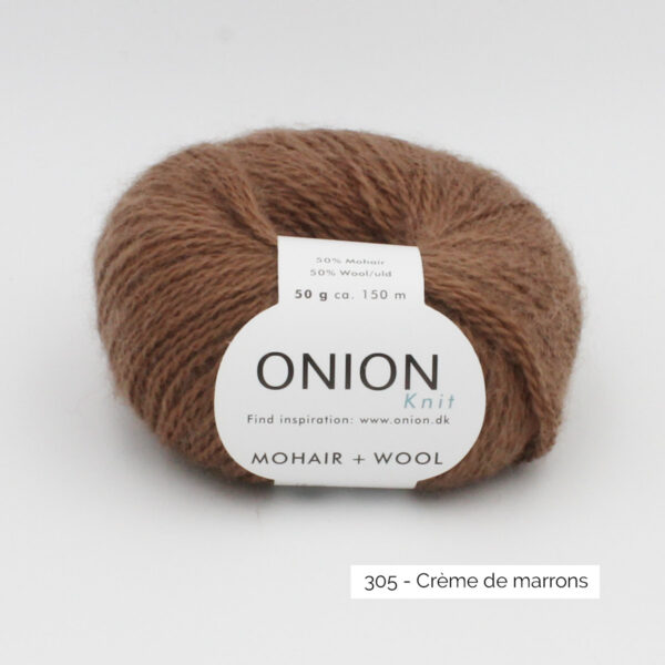 A ball of Onion Mohair + Wool in the Crème de Marrons colorway (cream of chestnuts)