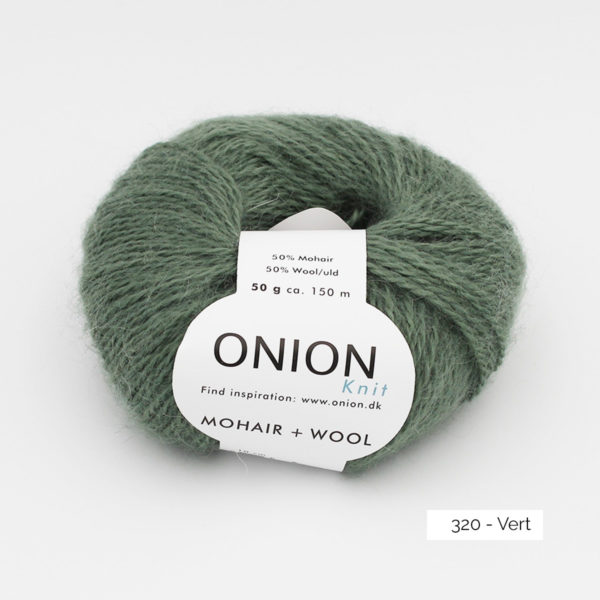 A ball of Onion Mohair + Wool in the Vert colorway (dark sage green)