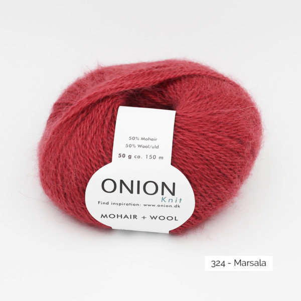 A ball of Onion Mohair + Wool in the Marsala colorway