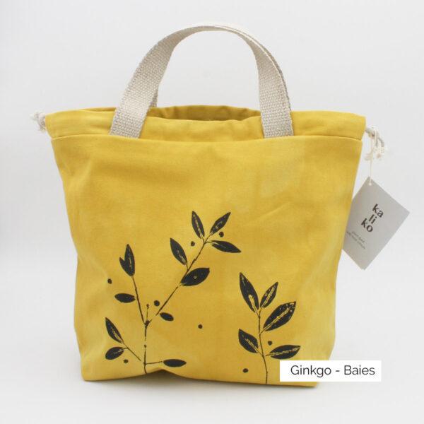 Présentation d'un sac à projet Kaliko, coloris Gingko et imprimé Baies