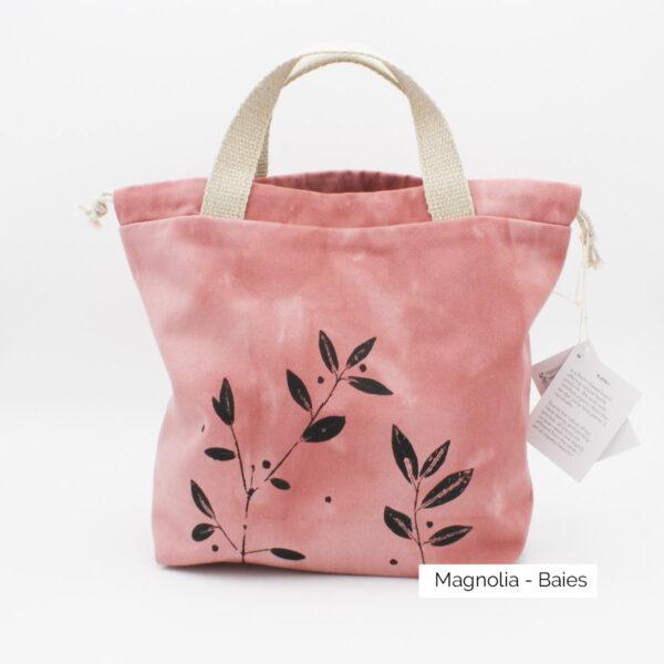 Présentation d'un sac à projet Kaliko, coloris Magnolia et imprimé Baies