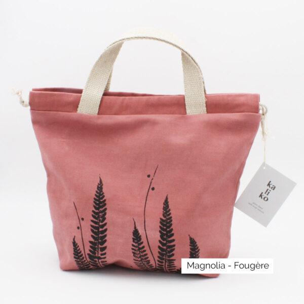 Présentation d'un sac à projet Kaliko, coloris Magnolia et imprimé Fougère