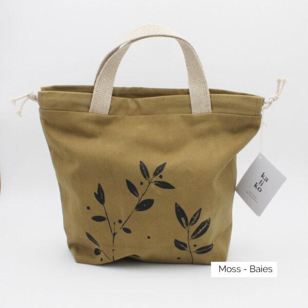 Présentation d'un sac à projet Kaliko, coloris Moss et imprimé Baies