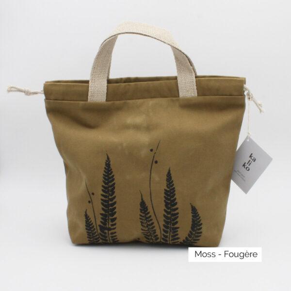 Présentation d'un sac à projet Kaliko, coloris Moss et imprimé Fougère