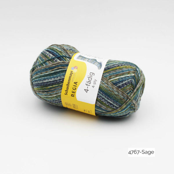 A ball of Regia's 4-ply (4-fädig) in the Sage colorway