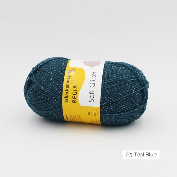 Une pelote de Soft Glitter de Regia coloris Teal Blue (bleu paon pailleté)