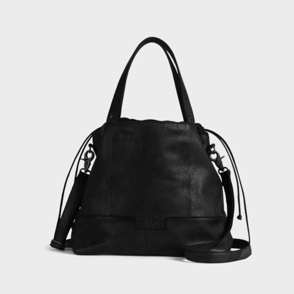 Display of a Lofoten shoulder strap project bag by Muud, in black