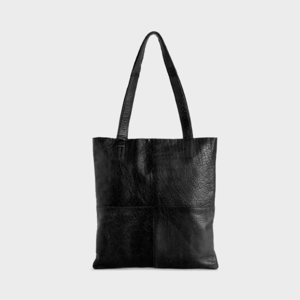 Display of a Show leather tote bag, made by Muud, in black