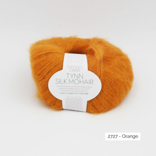Pelote de Tynn Silk Mohair Sandnes Garn coloris Orange sur fond blanc