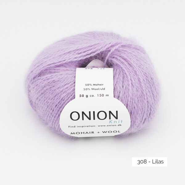 A ball of Onion Mohair + Wool in the Lilas colorway (lilac)