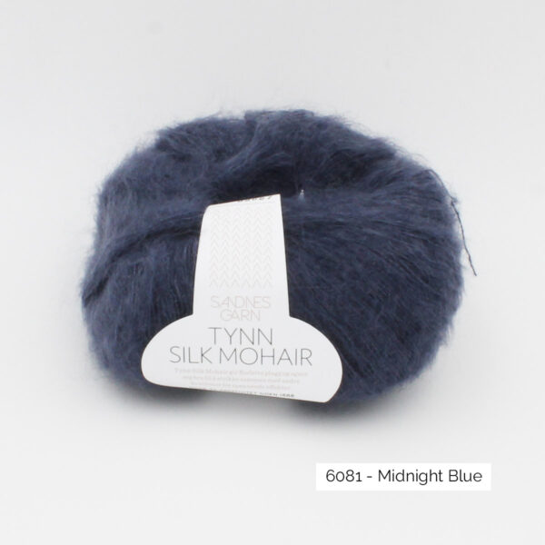 A ball of Sandnes Garn's Tynn Silk Mohair in the Midnight Blue colorway
