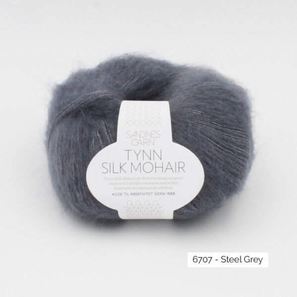 A ball of Sandnes Garn's Tynn Silk Mohair in the Steel Grey colorway
