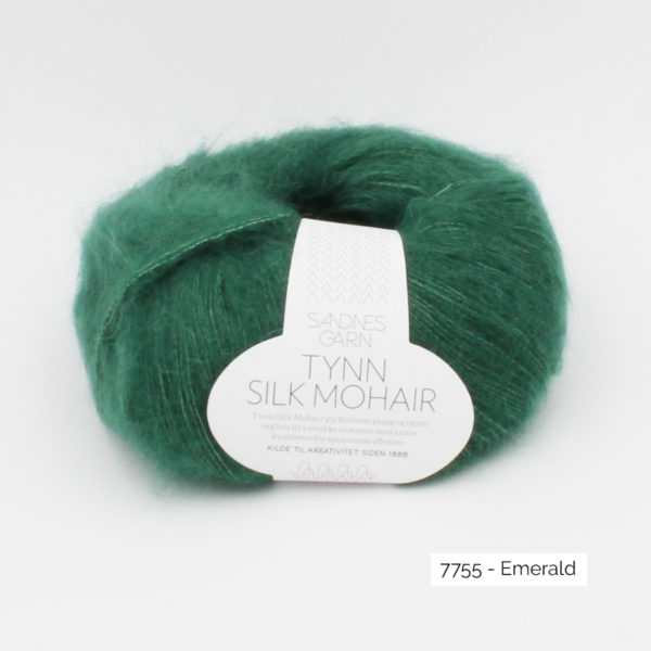 A ball of Sandnes Garn's Tynn Silk Mohair in the Emerald colorway