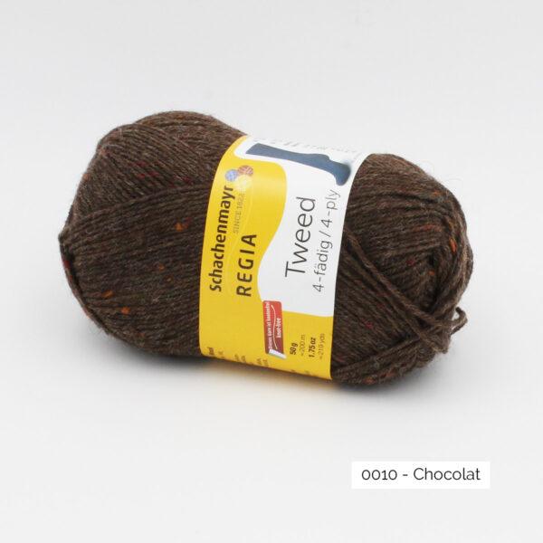 A ball of Regia 4-fädig Tweed in the Chocolat colorway (dark brown)