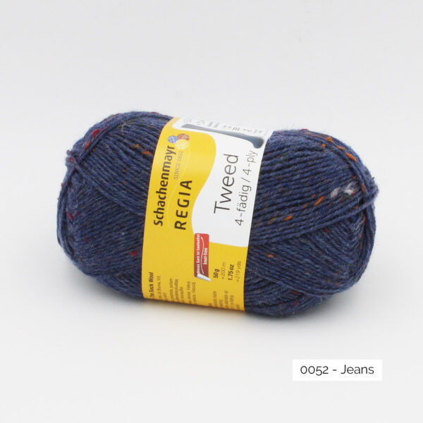 A ball of Regia 4-fädig Tweed in the Jeans colorway