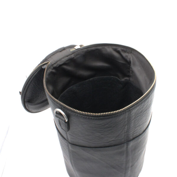 Display of a leather Saturn XL project bag, by Muud, in black, open