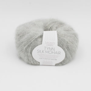 A ball of Sandnes Garn's Tynn Silk Mohair in the Light Grey colorway