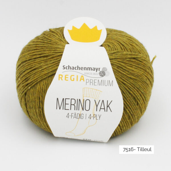 A ball of Regia's Premium Merino Yak in the Tilleul colorway (lime)
