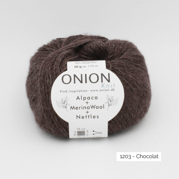 One ball of Onion Alpaca Merino Nettles, in the Chocolat colorway (dark cold brown)