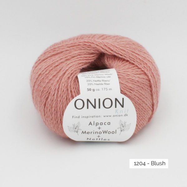 One ball of Onion Alpaca Merino Nettles, in the Blush colorway