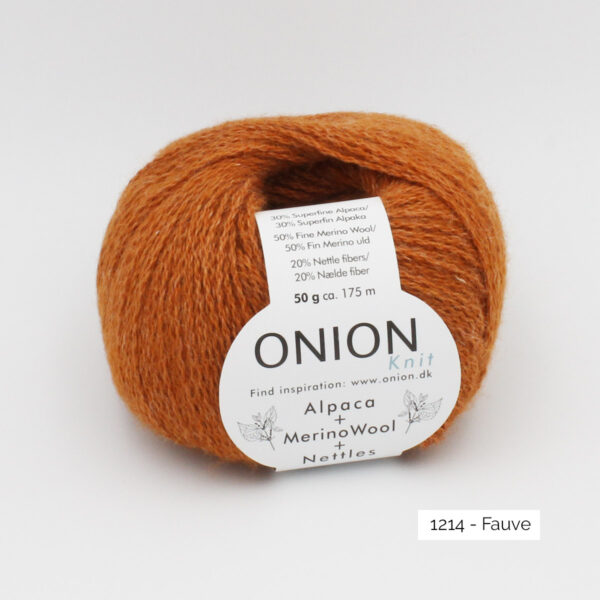 One ball of Onion Alpaca Merino Nettles, in the Fauve colorway (light tawny brown)
