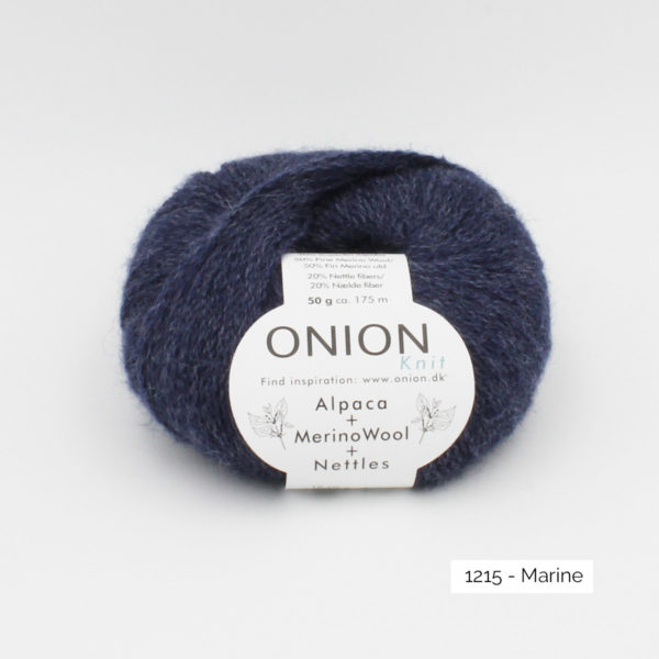 One ball of Onion Alpaca Merino Nettles, in the Marine colorway (navy blue)