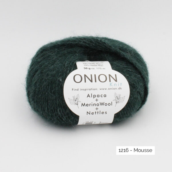 One ball of Onion Alpaca Merino Nettles, in the Mousse colorway (dark moss green)