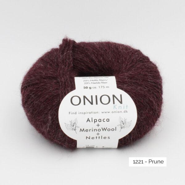 One ball of Onion Alpaca Merino Nettles, in the Prune colorway (plum)
