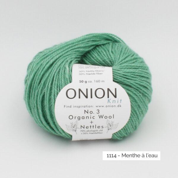 Une pelote d'Organic Wool + Nettles n°3 d'Onion coloris Menthe à l'eau