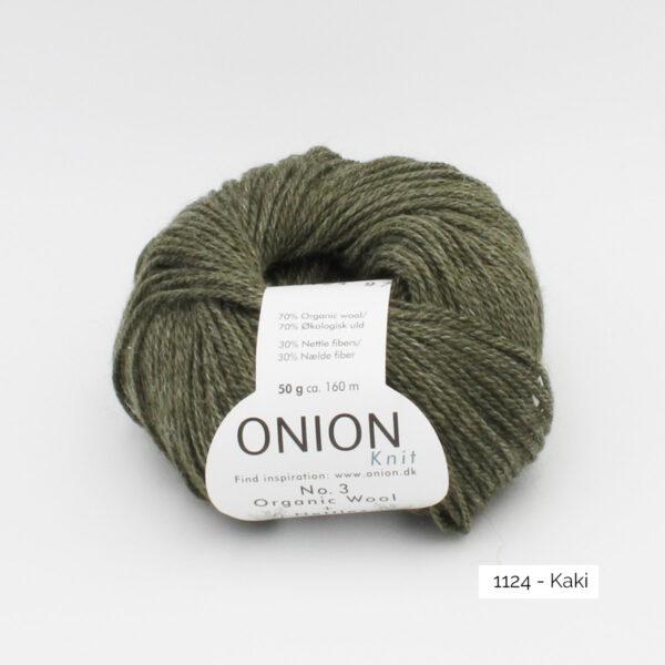 Une pelote d'Organic Wool + Nettles n°3 d'Onion coloris Kaki