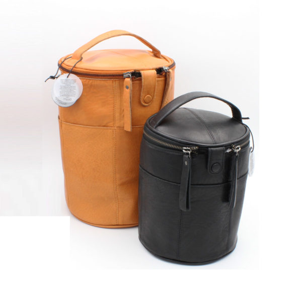 Display of two Saturn leather project bags by Muud, in different sizes and colours