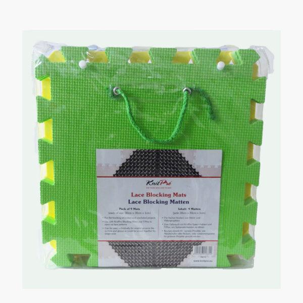 Présentation du tapis de blocage en dalles Knit Pro dans son emballage