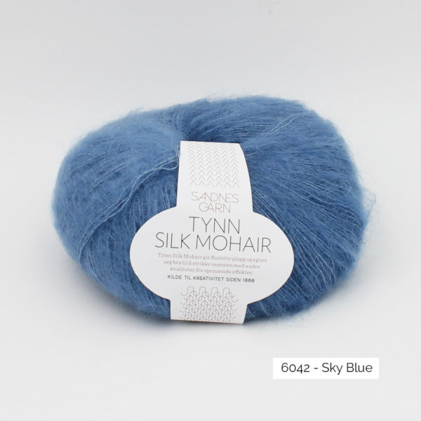 A ball of Sandnes Garn's Tynn Silk Mohair in the Sky Blue colorway