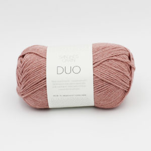 A ball of Sandnes Garn Duo in the Powder Pink colorway