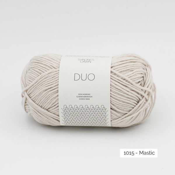 A ball of Sandnes Garn Duo in the Putty colorway