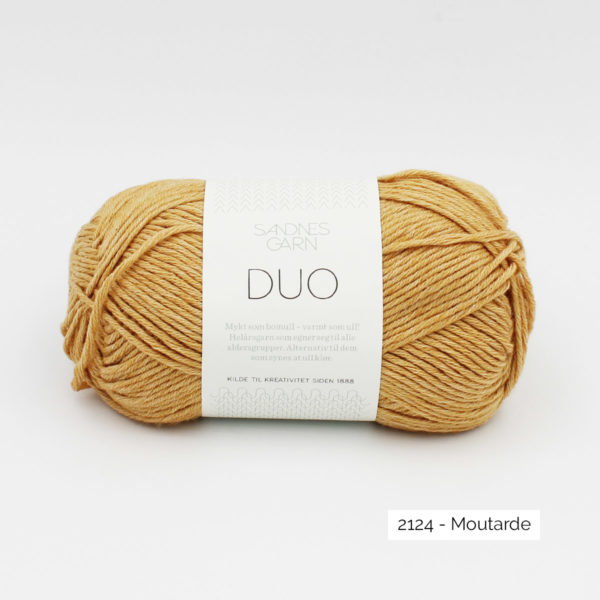A ball of Sandnes Garn Duo in the Mustard colorway