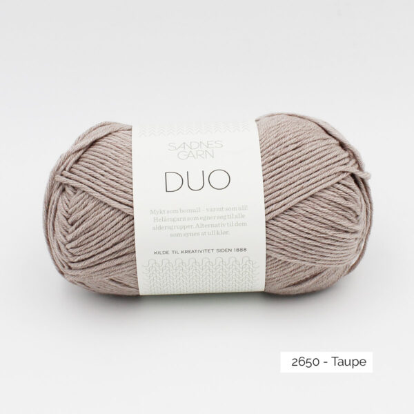 A ball of Sandnes Garn Duo in the Taupe colorway