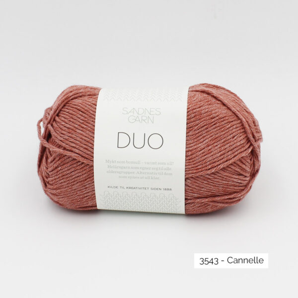 A ball of Sandnes Garn Duo in the Cinnamon colorway