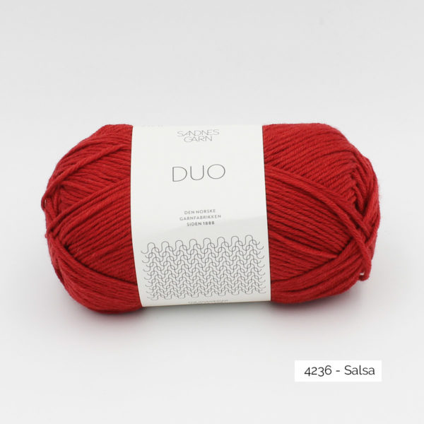 A ball of Sandnes Garn Duo in the Salsa colorway