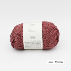 A ball of Sandnes Garn Duo in the Marsala colorway
