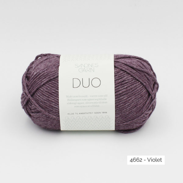 A ball of Sandnes Garn Duo in the Purple colorway