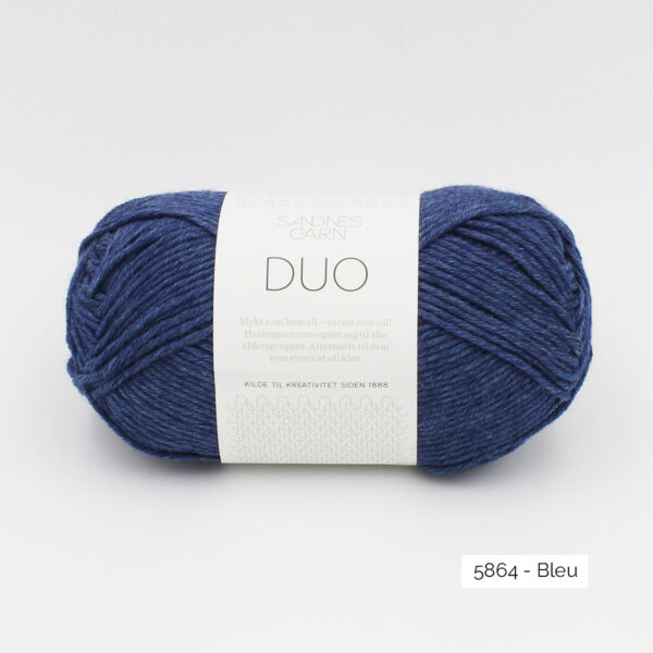 A ball of Sandnes Garn Duo in the Blue colorway