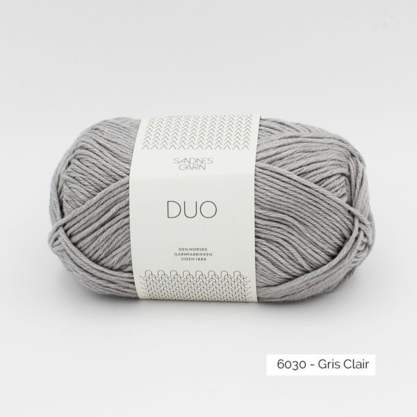 A ball of Sandnes Garn Duo in the Light Grey colorway