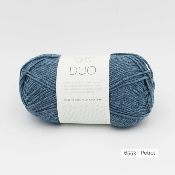 A ball of Sandnes Garn Duo in the Petrol colorway