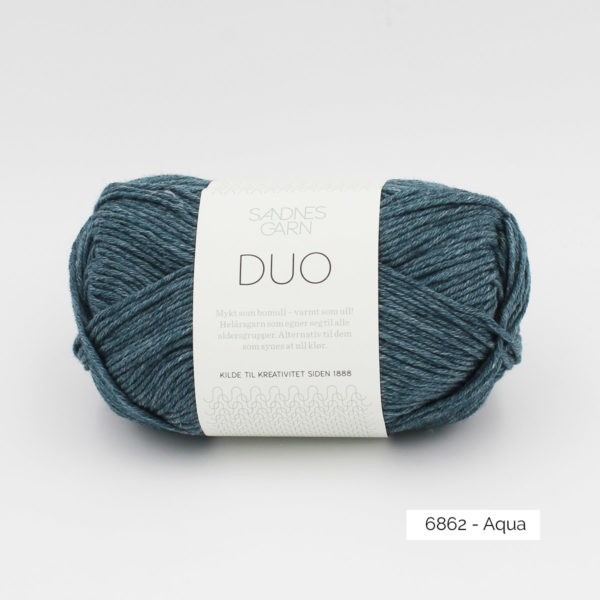 A ball of Sandnes Garn Duo in the Aqua colorway
