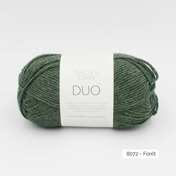 A ball of Sandnes Garn Duo in the Forest colorway