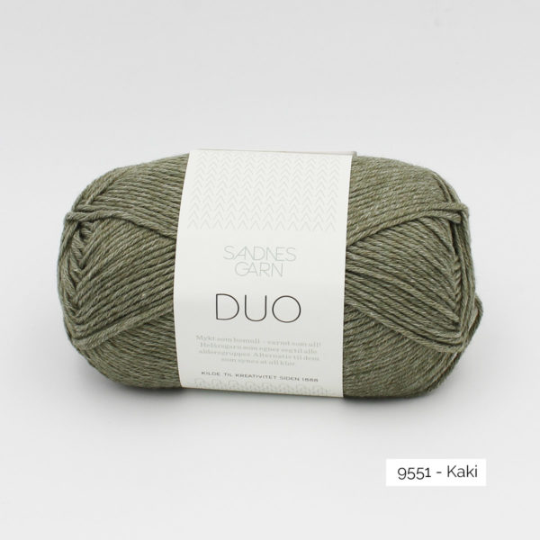 A ball of Sandnes Garn Duo in the Moss colorway